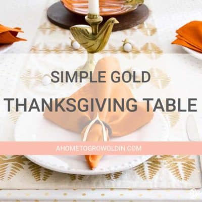 Simple Gold and White Thanksgiving Table