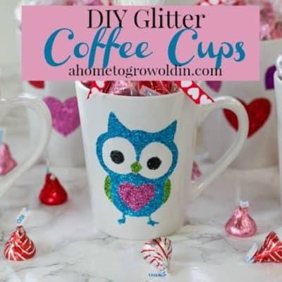 DIY Valentine's Glitter Coffee Cups