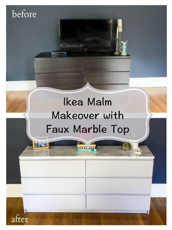 An easy Ikea hack to update your Malm dresser! Great tips on painting laminate furniture as well as how to apply a faux marble top. Check out the before and after pictures of this DIY bedroom makeover project! #ikea #ikeahack #ikeamalm #bedroomfurniture #diydecor #budgetdecor #homedecor