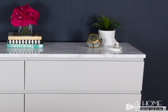 DIY faux marble top on Ikea dresser