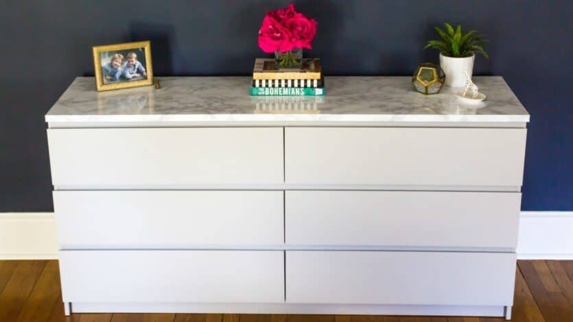 How to makeover your ikea malm dresser with a marble top Ikea furniture makeover