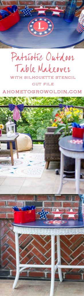 This patriotic outdoor furniture makeover is the perfect table for a Memorial Day or 4th of July BBQ. Includes the Silhouette stencil cut file that can be used on so many party decorations. Pin now so you'll always have the cut file!