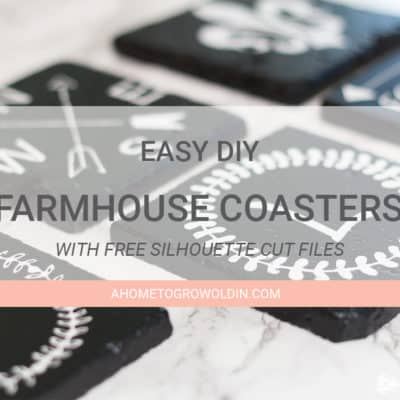 Check out these farmhouse style coasters! It's such an easy DIY using inexpensive stone tile. Includes 5 free Silhouette cut files! Make sure to save it for later!