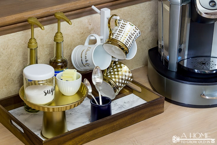 This is such an easy way to set up a coffee station in your kitchen! Lots of great ideas on how to create your own.  Perfect for the cold weather season!  You'll want to pin this for later!