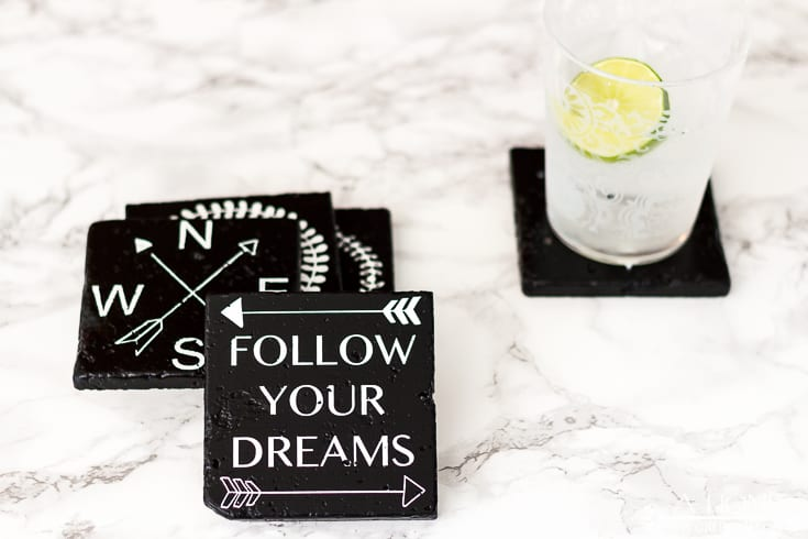 photo of DIY farmhouse coasters with a drink with lime