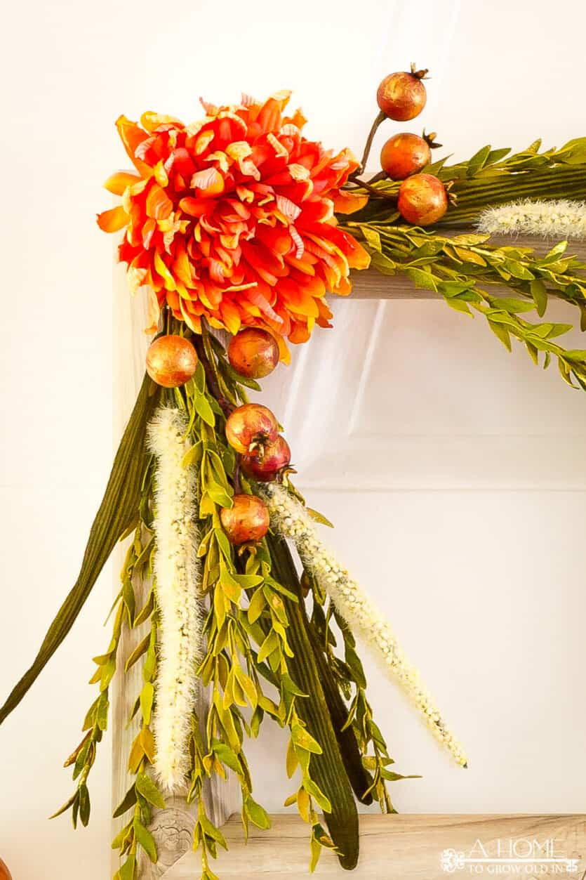 close up of the flower on square fall pool noodle wreath