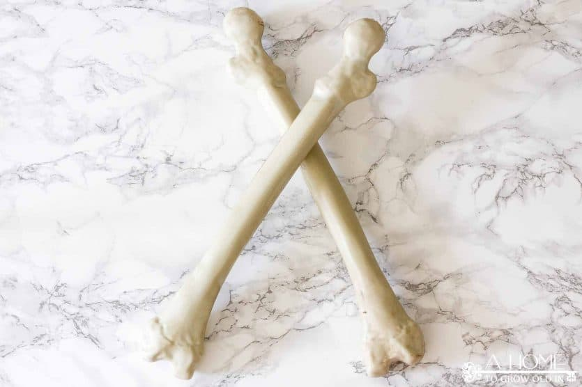 bones used to make a Halloween centerpiece