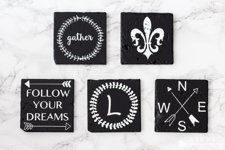 photo of coasters with fleur de lis, gather, and other designs