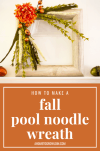 graphic on how to make a fall pool noodle wreath