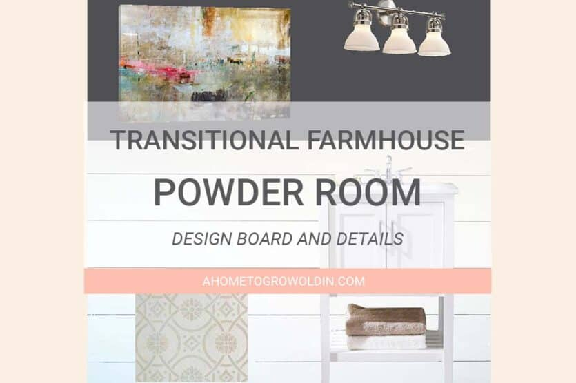 Transitional Farmhouse Powder Room Makeover {One Room ...