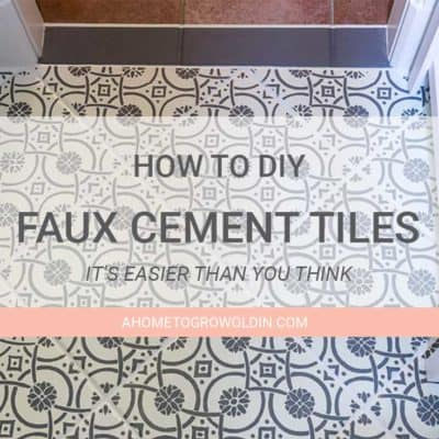 Transitional Farmhouse Powder Room Makeover {One Room Challenge Week 4} – DIY Faux Cement Tiles
