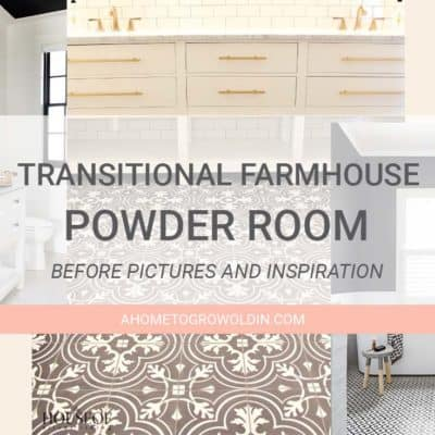 Transitional Farmhouse Powder Room Makeover {One Room Challenge Week 1}