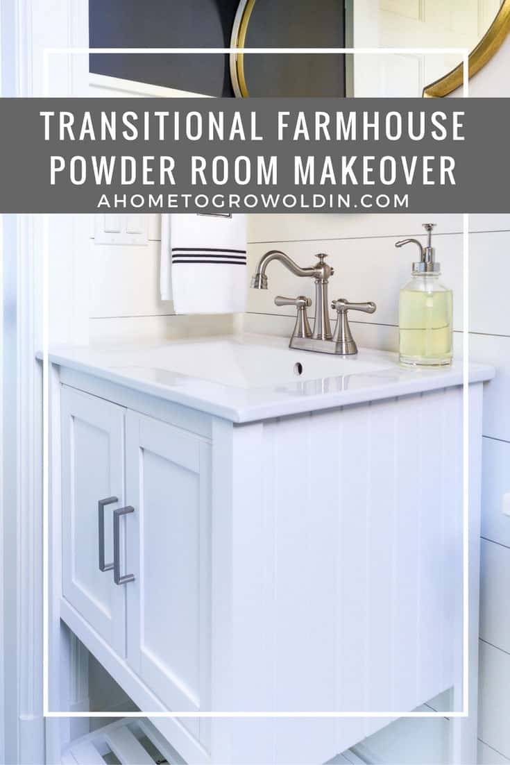 Powder Room Makeover Reveal Transitional Farmhouse Style