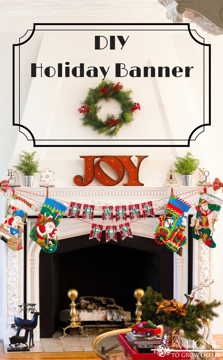 This DIY holiday banner is a great way to decorate your fireplace mantel this Christmas season! Easy to customize for any holiday or season!
