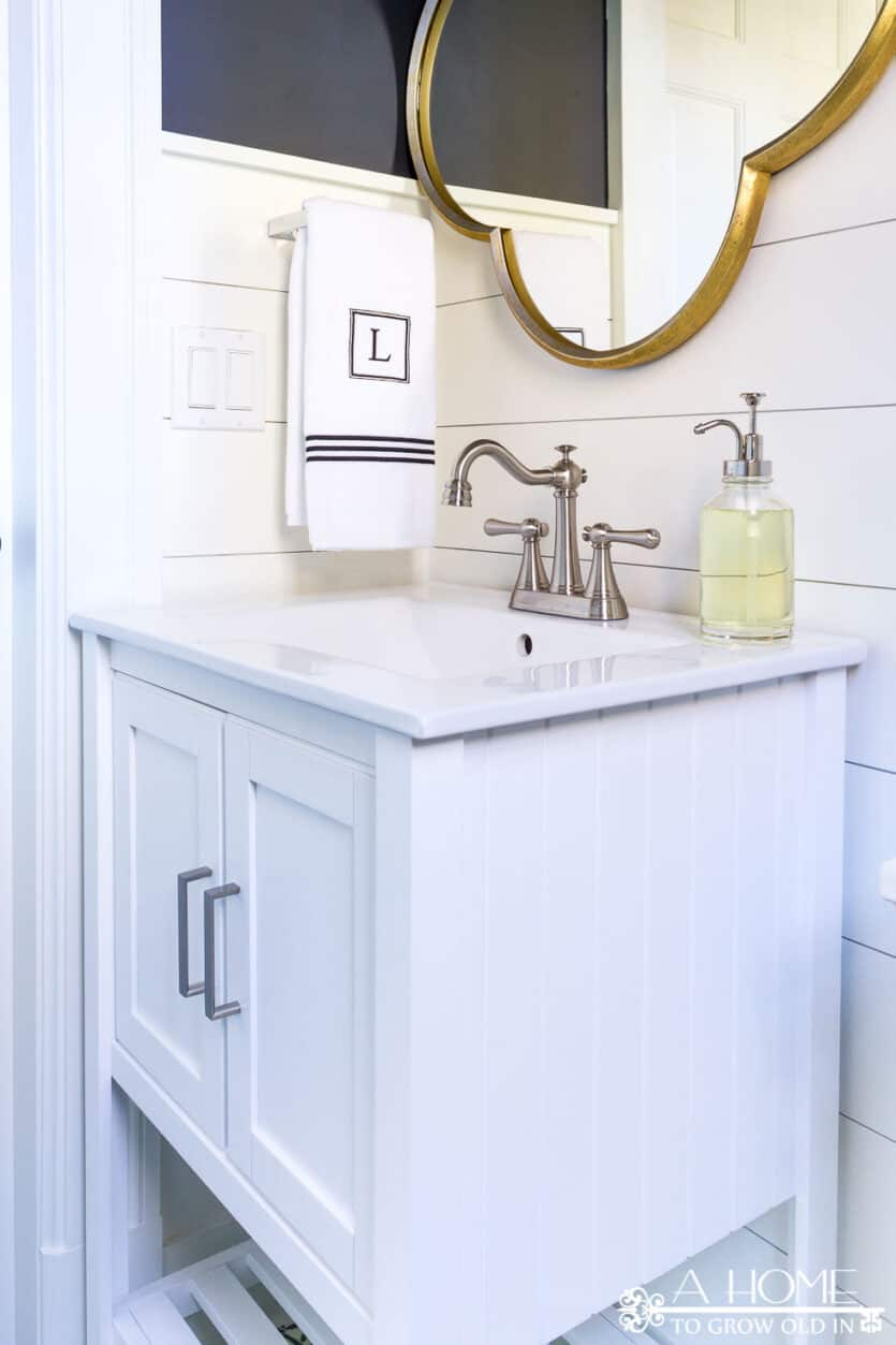 Powder Room Makeover Reveal- Transitional Farmhouse Style