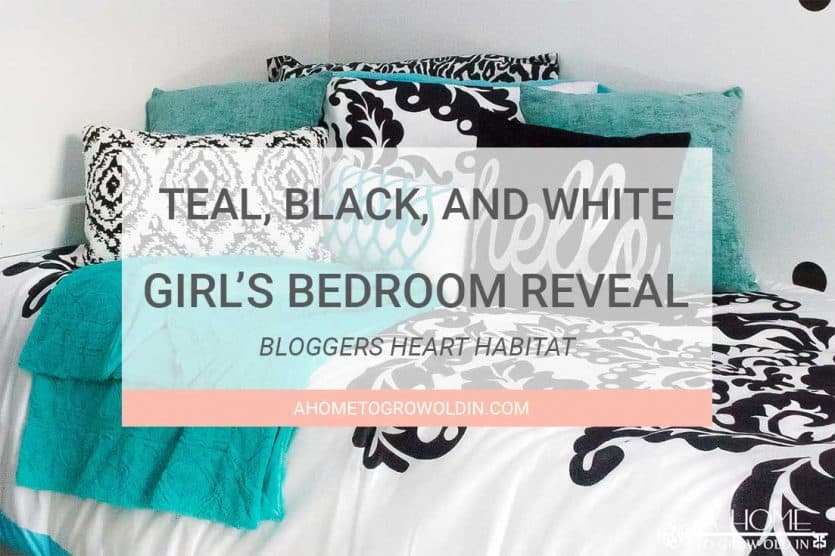 Teal Black And White Girl S Bedroom Reveal With Bloggers Heart Habitat A Home To Grow Old In