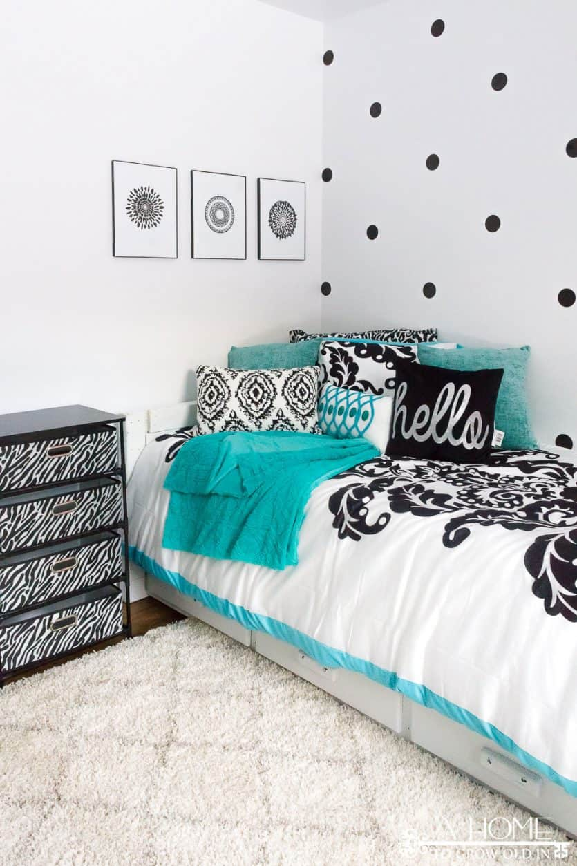 A gorgeous black, white, and teal girl's bedroom reveal with lots of zebra print and polka dots! This is any girl's dream room!