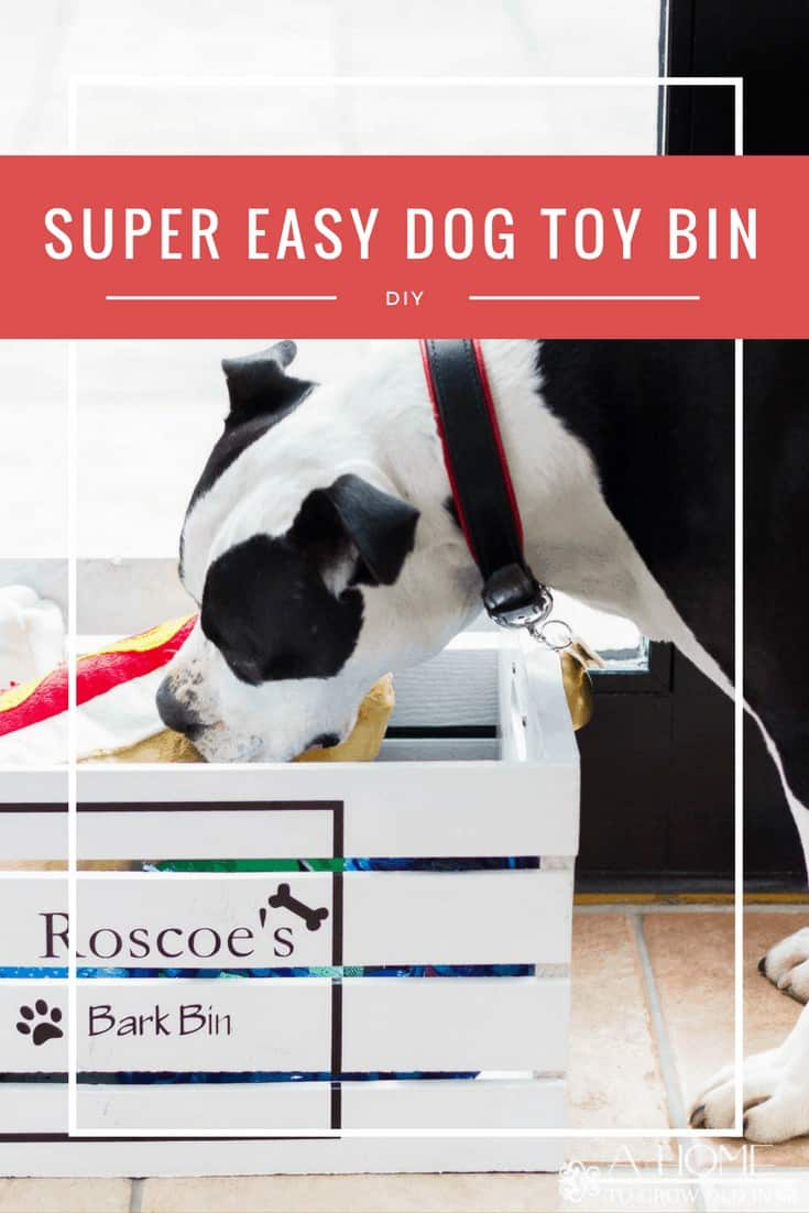 Using a wooden crate is a super easy way to make a toy box for your pampered pet! You'll be ready to start organizing your dog toys in just a few of hours with this pet storage DIY! Includes a free Silhouette cut file. #dog #cricut #AHomeToGrowOldIn
