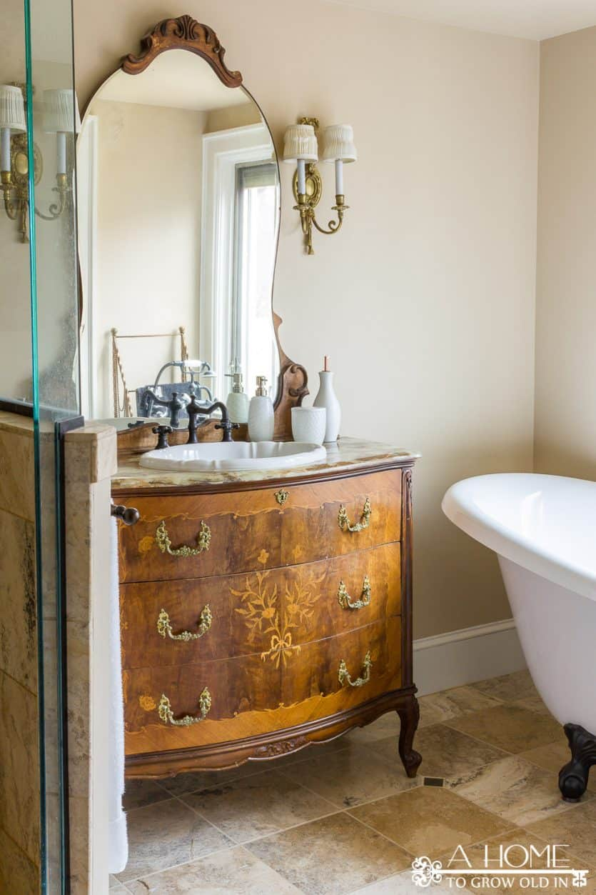 "Check out the ""before"" and inspiration pics of where this master bathroom refresh makeover got its start!"