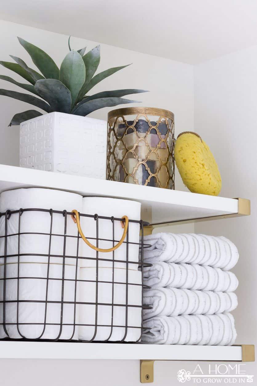 modern styled bathroom shelves