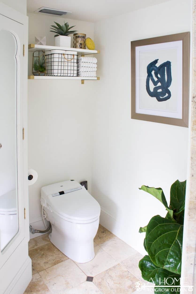 modern over the toilet bathroom shelves