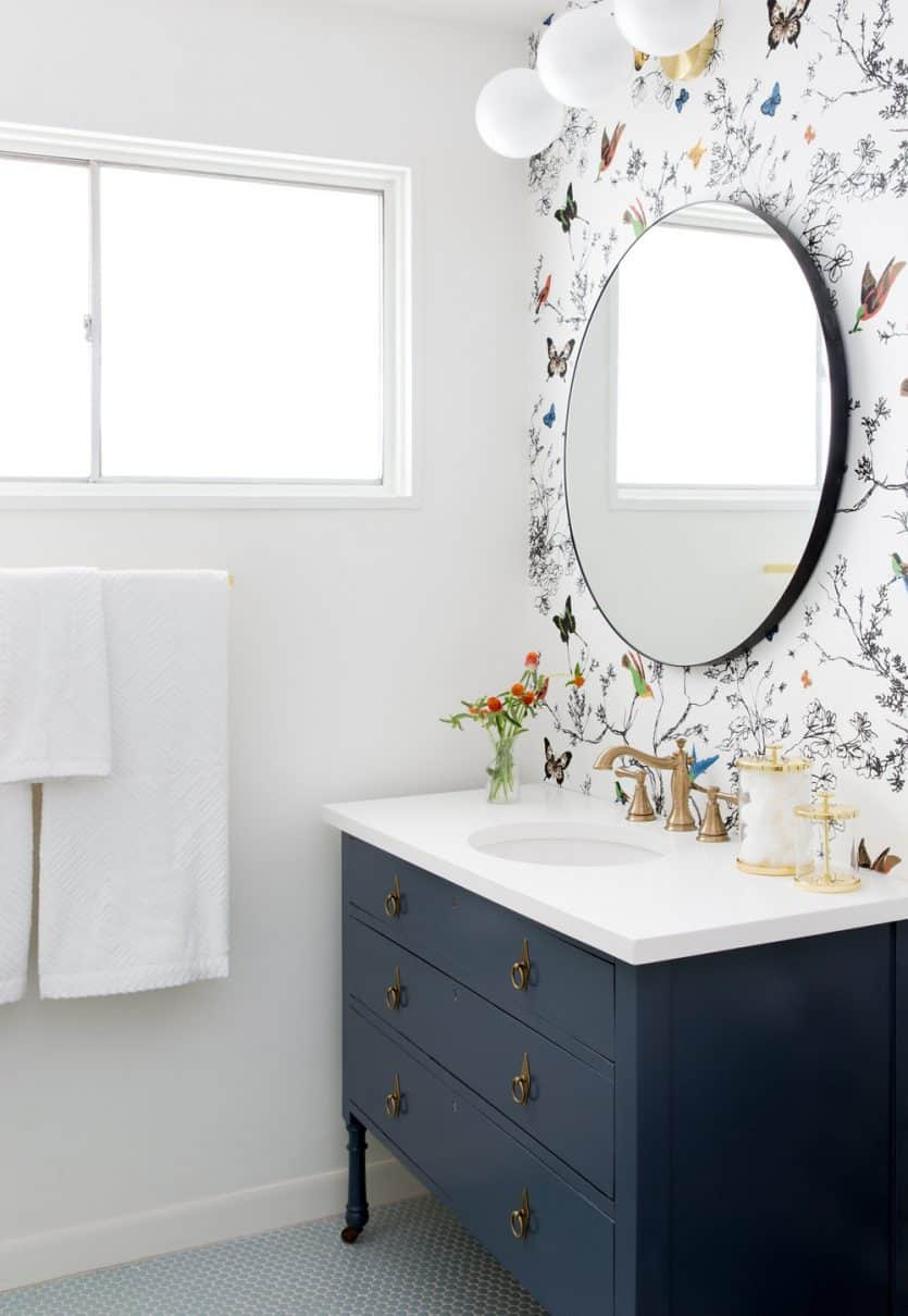 The Latest Bathroom Design Trends: Round Mirrors, Bold Fixtures ...
