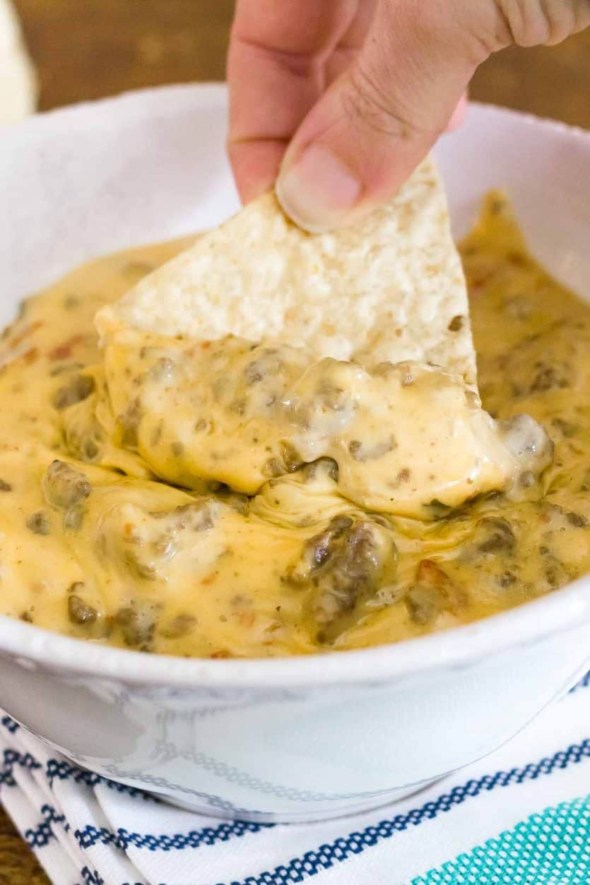 photo of chip with slow cooker cheese dip