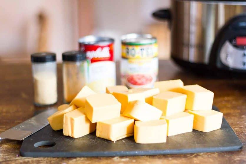 photo of cubed Velveeta and other slow cooker dip ingredients