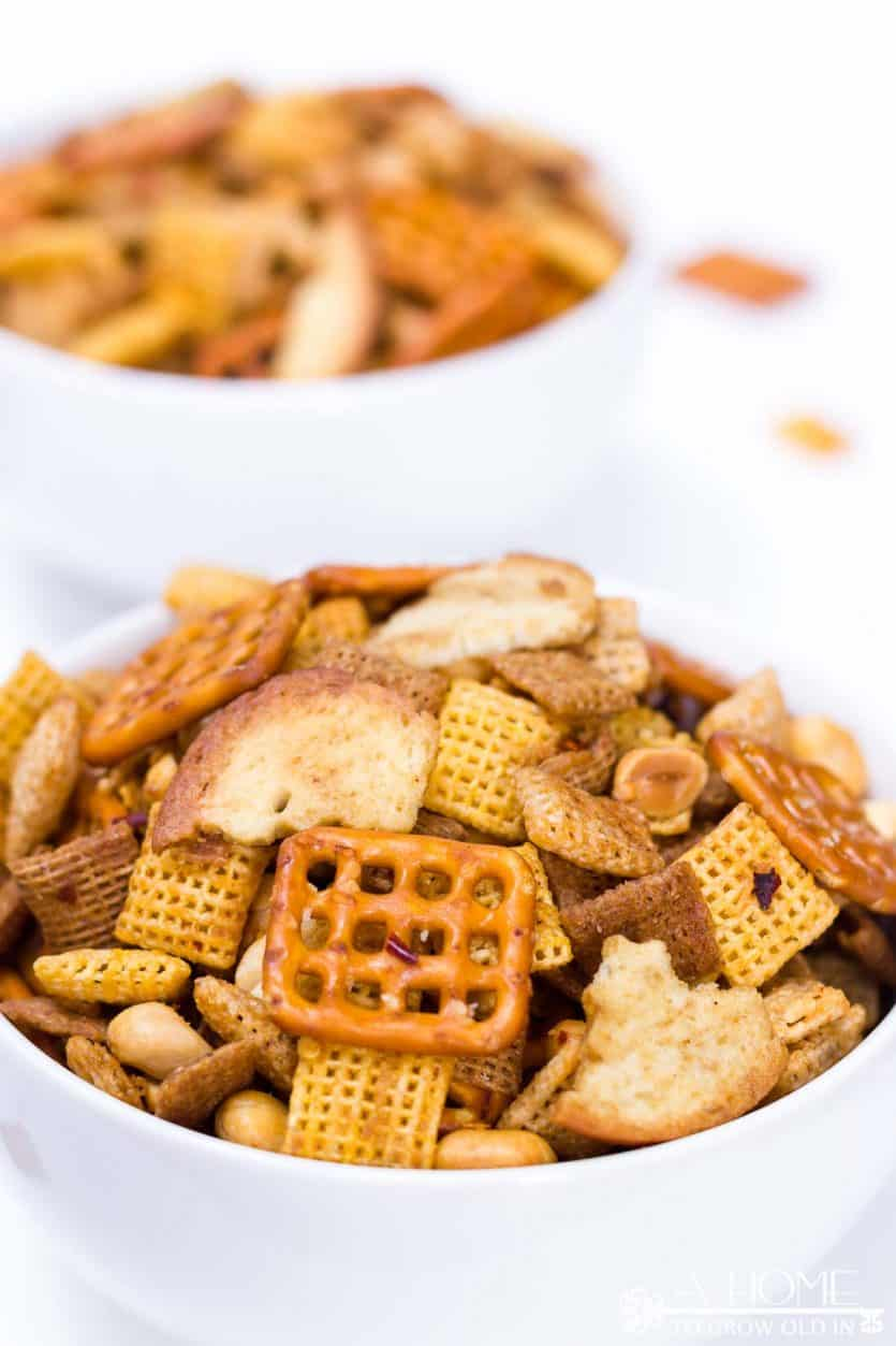 SPICY SRIRACHA CHEX MIX THE ULTIMATE PARTY SNACK