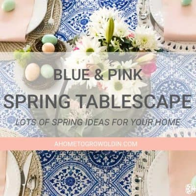 Cobalt Blue and Blush Pink Spring Tablescape