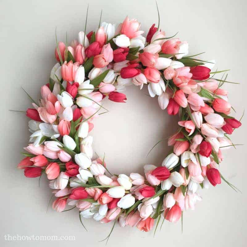 DIY pink and white tulips wreath