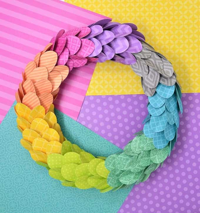 colorful wreath made from scrapbook paper
