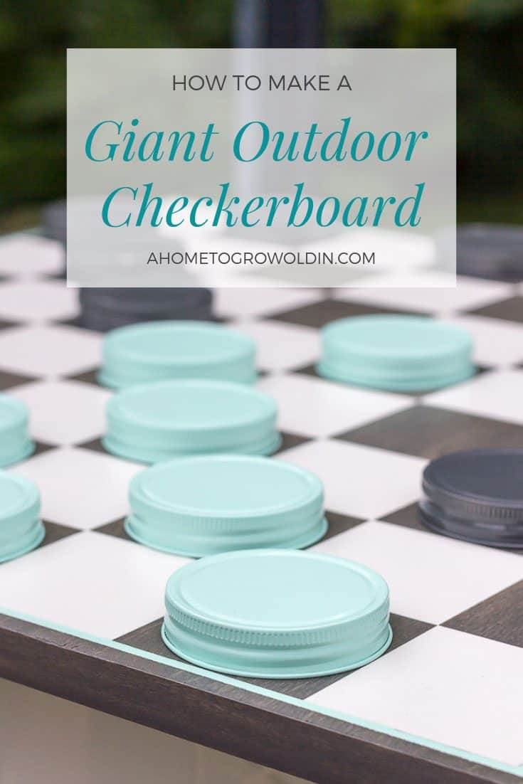 Easy instructions on how to make a giant oversized mason jar outdoor checkerboard game that is perfect for some backyard fun and entertainment this summer! Both kids and adults will love it! #outdoorgames #summer #AHomeToGrowOldIn