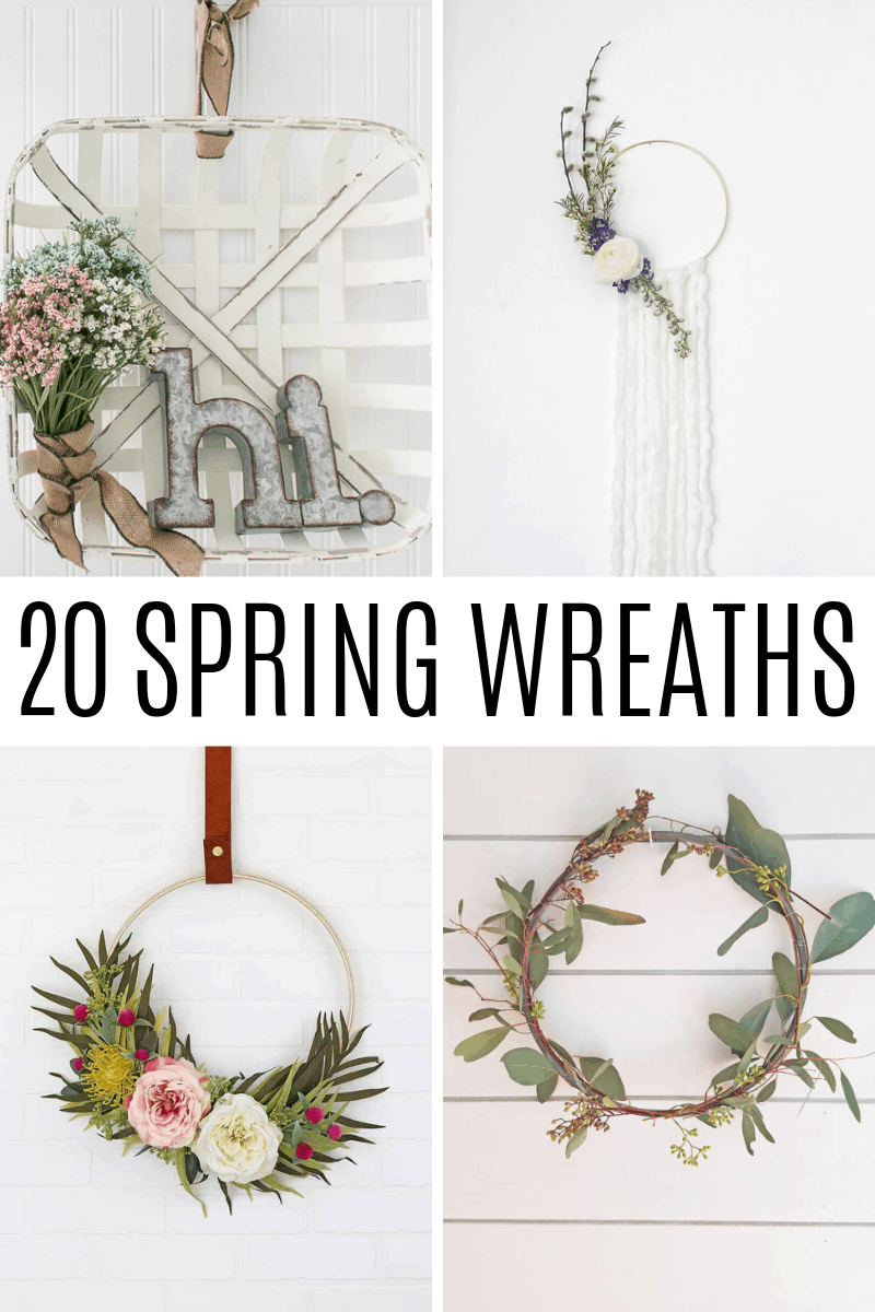 graphic for round up of spring wreaths for a front door