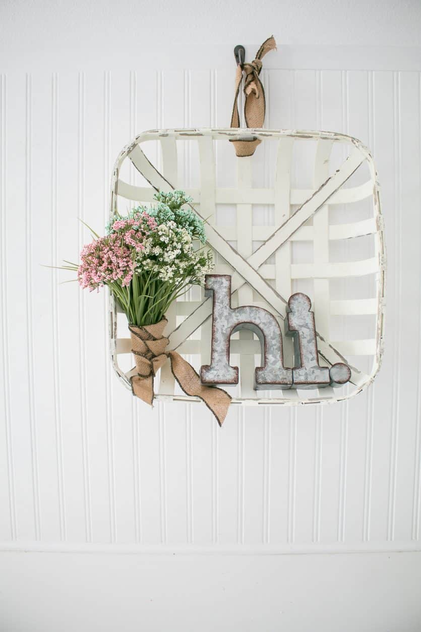 farmhouse wreath made from a woven basket