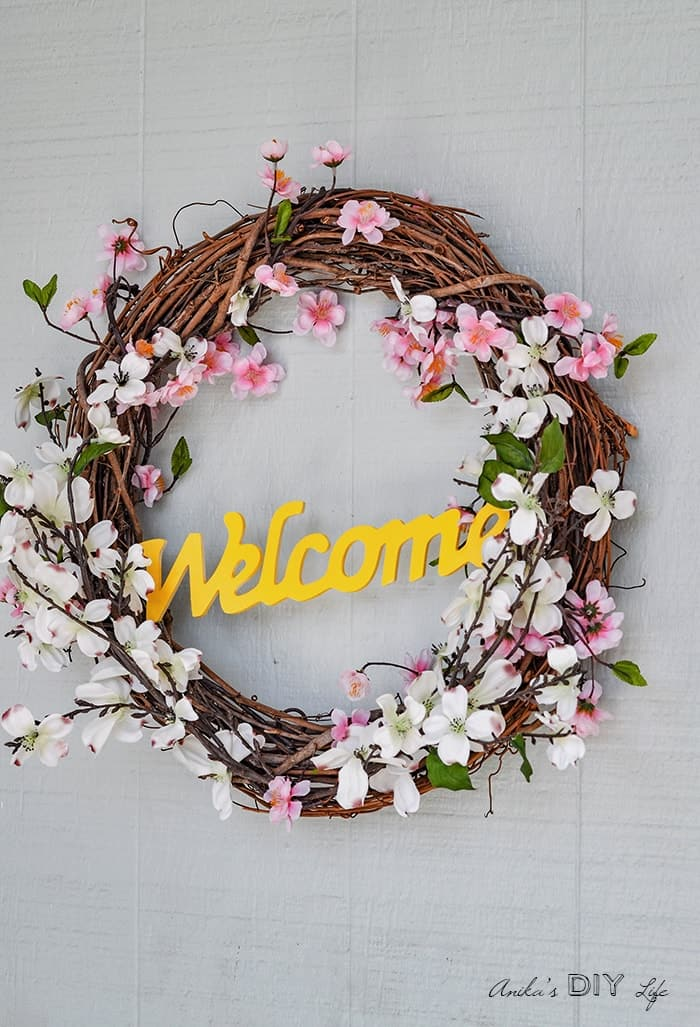 spring wreath made from grapevine with cherry blossoms