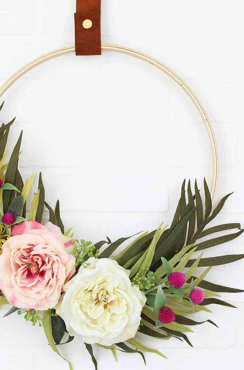 modern floral embroidery hoop wreath with greenery and bold flowers