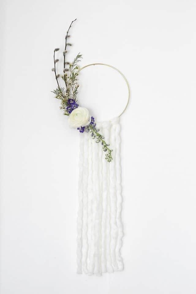 boho metal hoop floral wreath with tassels