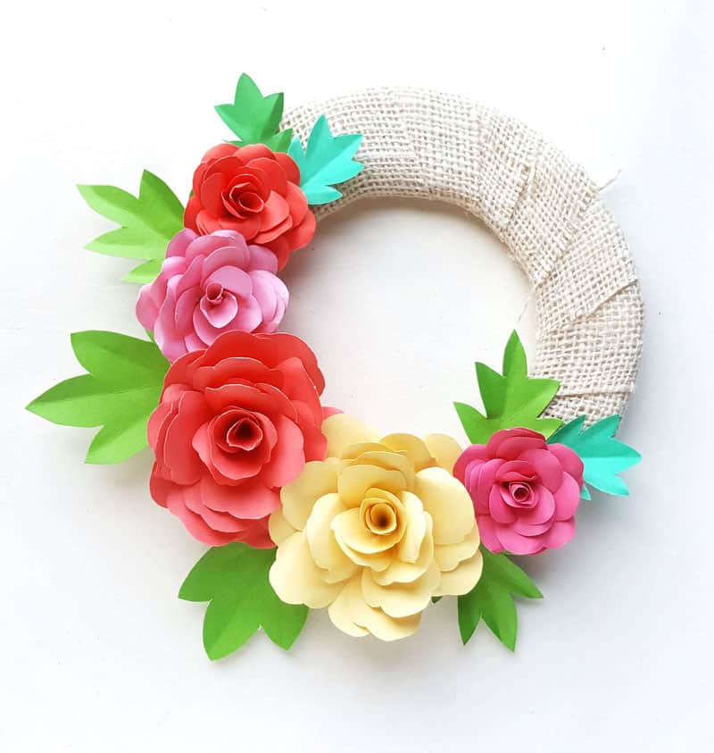 burlap wreath made from colorful paper flowers