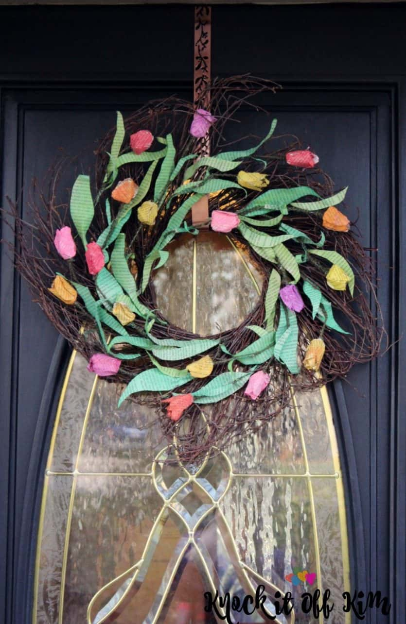 diy wreath made from book pages