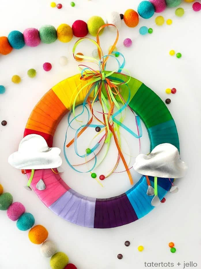 colorful ribbons on a wreath to create a rainbow with clouds
