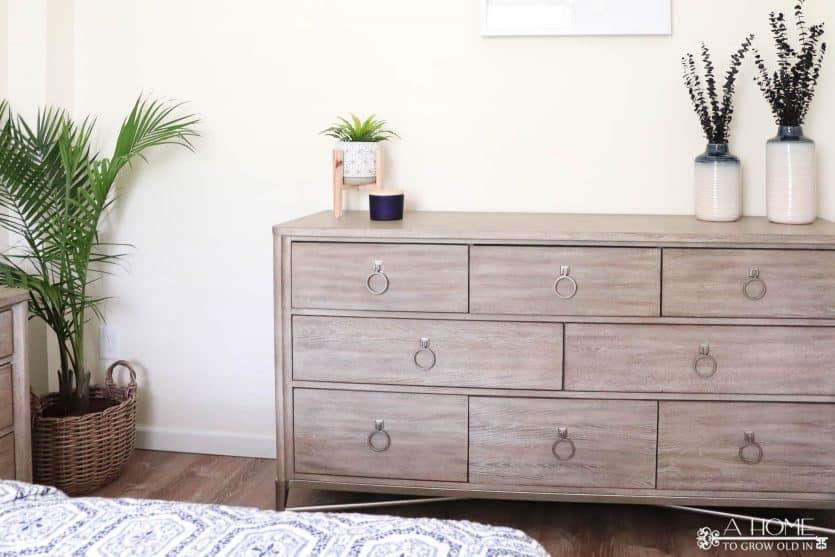 modern wood dresser in guest bedroom