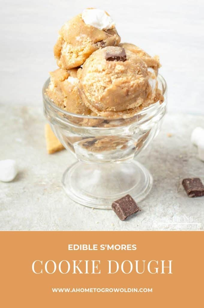 edible s'mores cookie dough in a glass dish