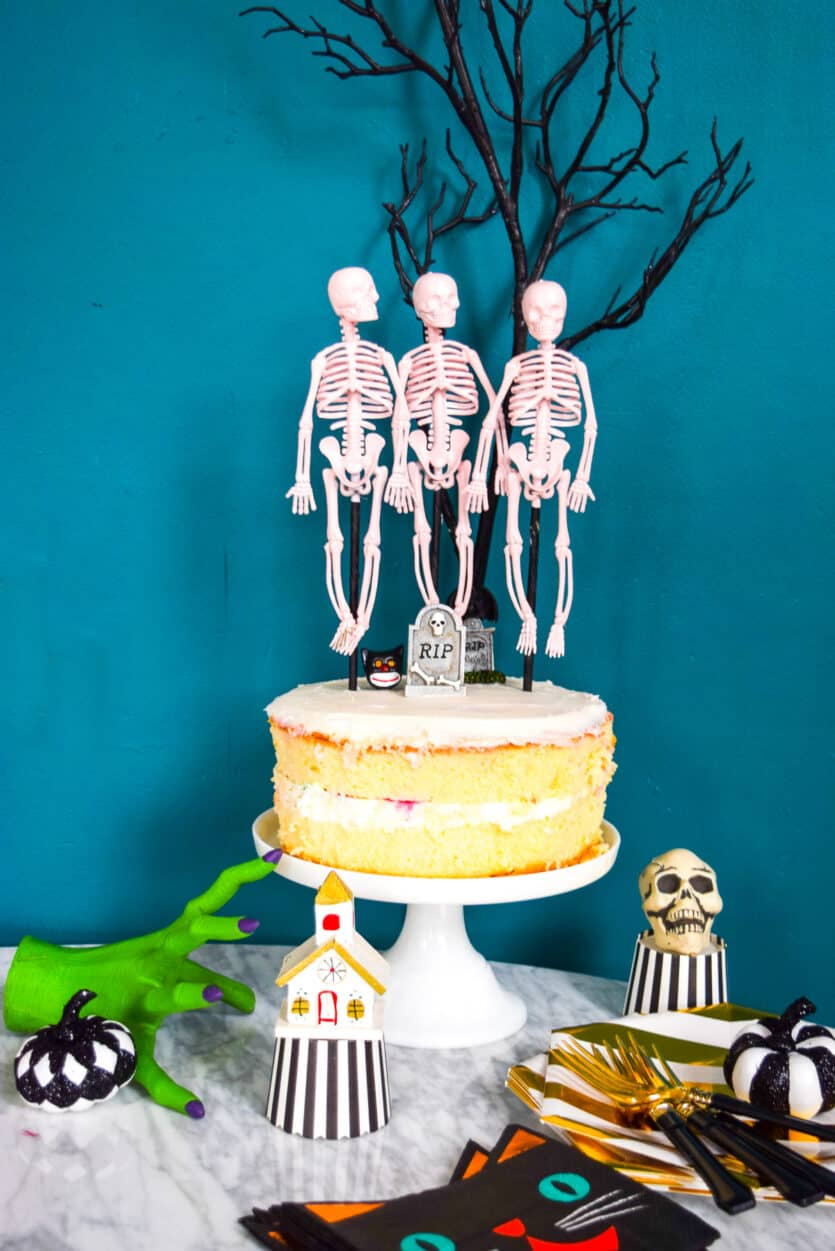 DIY skeleton dance cake topper for Halloween party idea