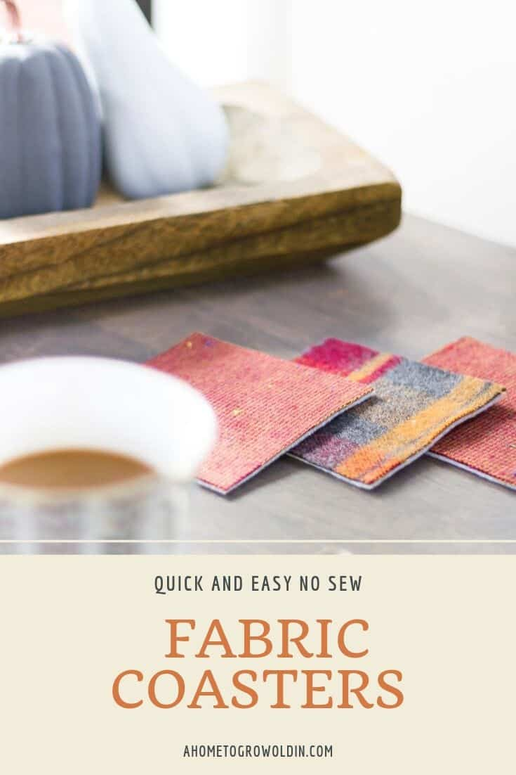 image of DIY plaid flannel fabric coasters with small pumpkins in the background and a cup of coffee
