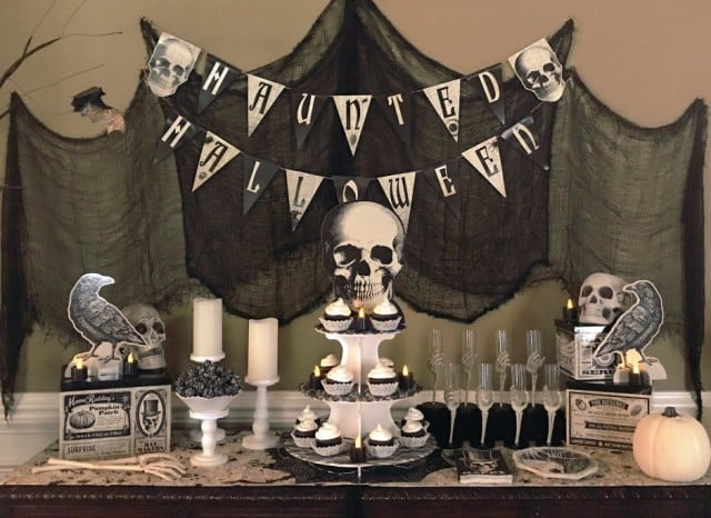 Skeleton Halloween party with skull decorations