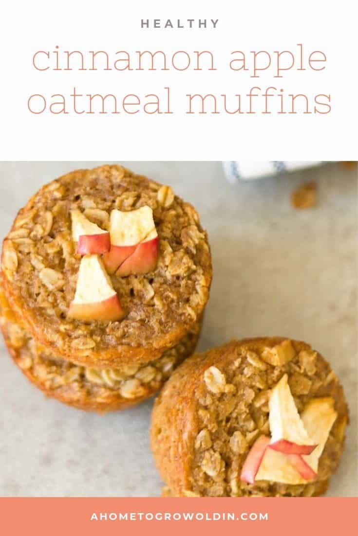 Healthy cinnamon apple oatmeal muffins made with applesauce are an easy gluten free recipe. Perfect for a quick breakfast on the go or an excellent make ahead after school snack. #oatmealmuffins #healthybreakfast #ahometogrowoldin