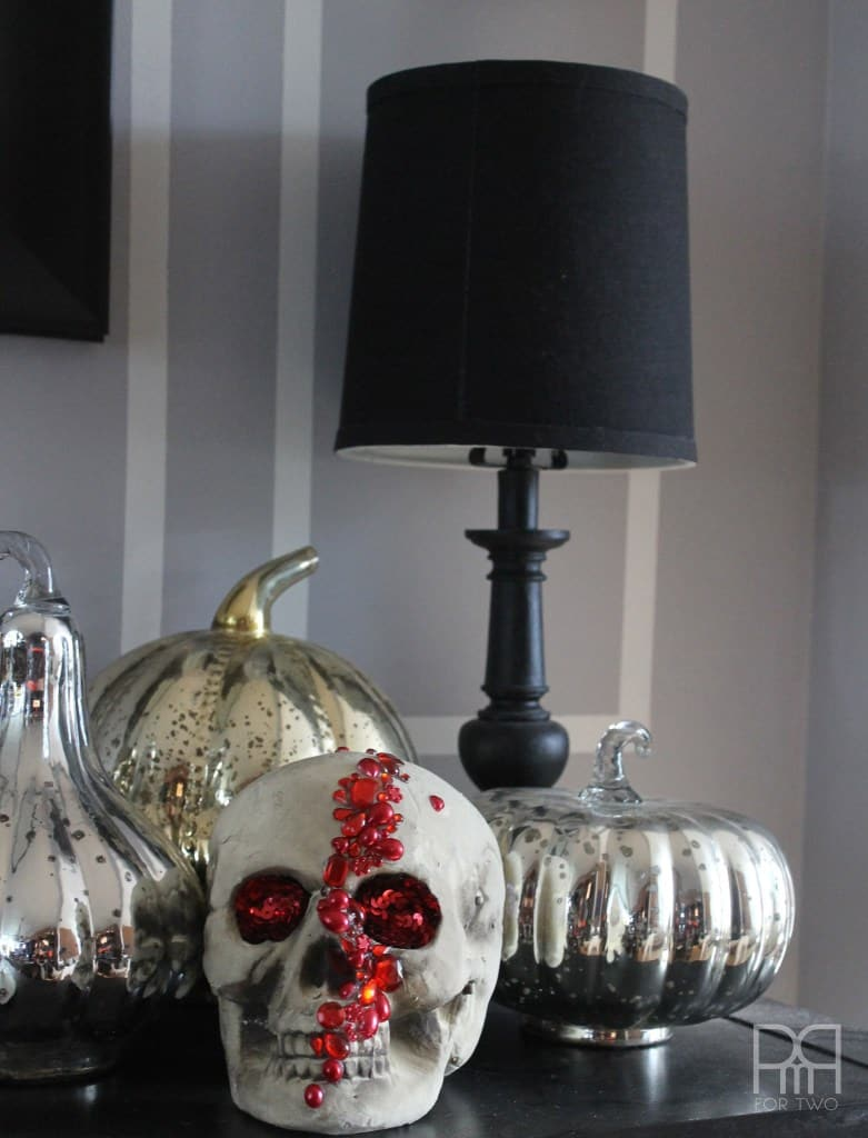 jeweled Halloween skull decor