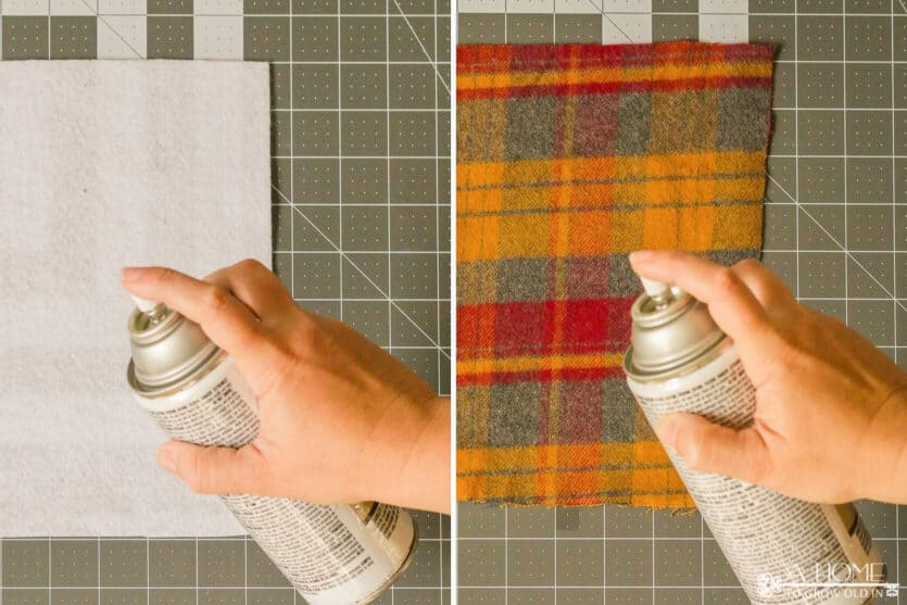 adhesive being sprayed on white felt and orange plaid flannel