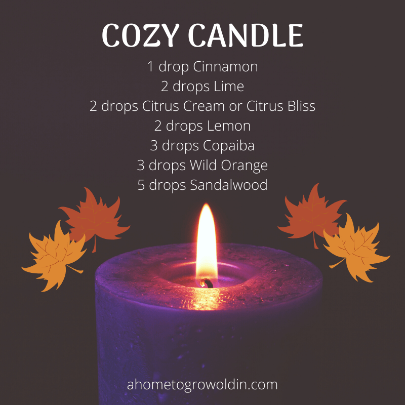 cozy candle essential oil blend for diy toilet spray with cinnamon, lime, citrus cream, citrus bliss, lemon, copaiba, wild orange, sandalwood